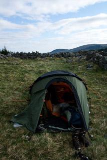 Our trusty tent — a Vango Tempest 200.